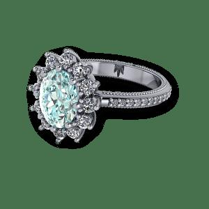 Large blue diamond halo vintage engagement platinum ring