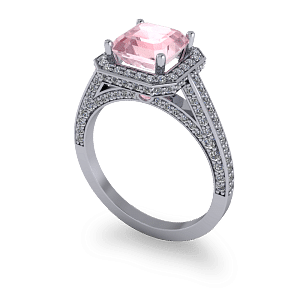 Pink Ascher diamond halo luxury platinum engagement ring