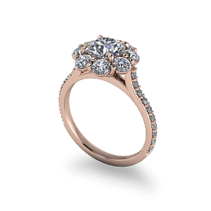 Rose Gold Traditional vintage halo engagement ring