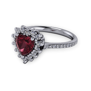 Antique Vintage Garnet and platinum heart engagement ring