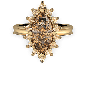 Cognac diamond marquis halo gold vintage engagement ring
