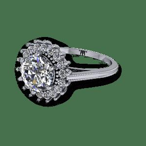 Large diamond vintage millgrain platinum engagement ring