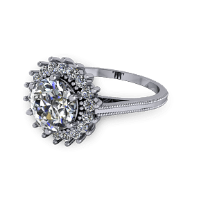 Large diamond vintage millgrain platinum engagement ring
