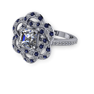 Diamond and sapphire unique halo vintage engagement ring