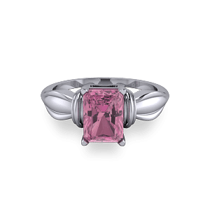 Bow shaped pink tourmaline radiant platinum engagement ring