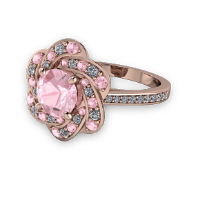 Rose gold and pink diamond Unique halo style ring