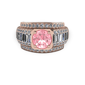 Rose gold and pink diamond modern baguette commitment ring