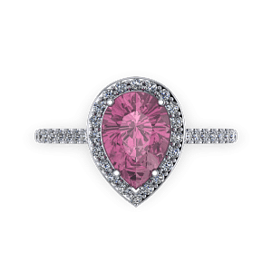 Pink tourmaline pear diamond and platinum halo birthstone engagement ring