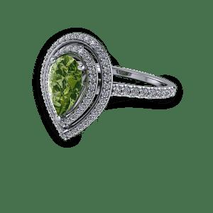 Stunning pear stone double diamond halo fine band engagement ring