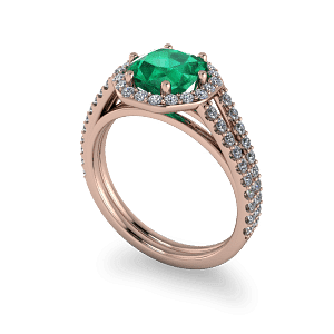 Radiant cut emerald rose gold diamond halo commitment ring
