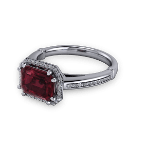 Stunning geometric vintage ruby platinum engagement ring