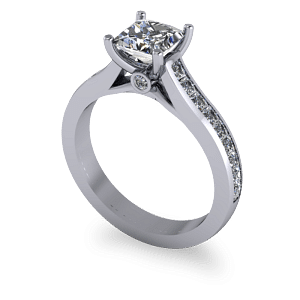 Princess cut diamond ring with accent stones
