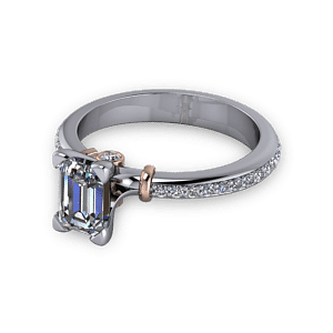 Platinum ring with rose gold accents