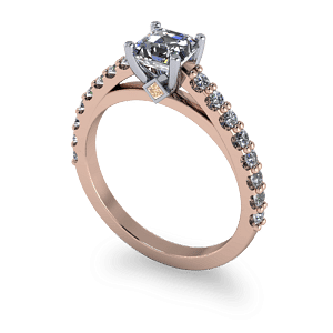 14kt rose gold ascher cut diamond ring