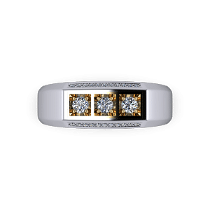 Mens diamond and mixed metal signet ring