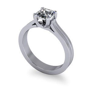 Ascher cut engagement ring