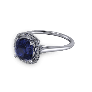 White gold and Sapphire diamond halo commitment ring