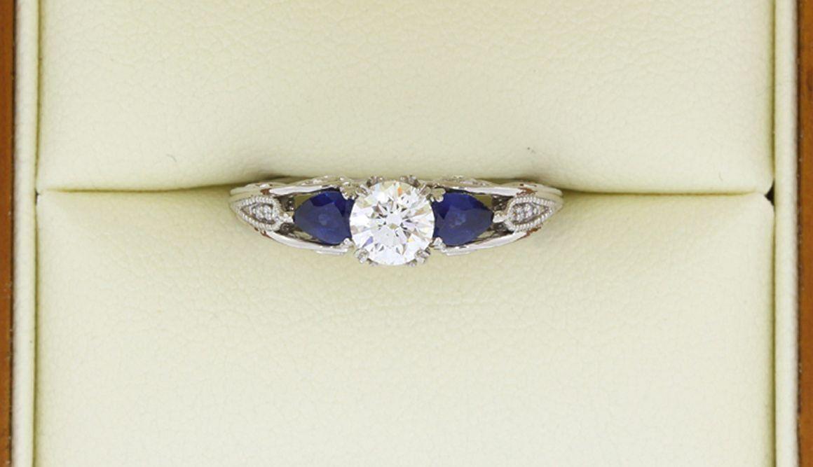 Diamond+&+Sapphire+Vine+engagement+ring