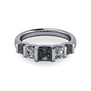 Square black diamond modern men's commitment ring