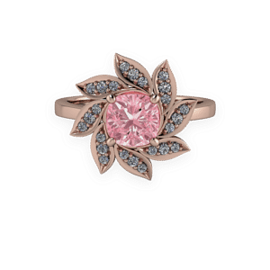 Rose Gold, Floral, Cushion, Halo,