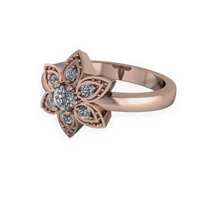 floral, petal, engagement ring, diamond, rose gold