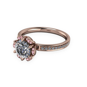 floral, Halo, Morganite, Rose Gold, Diamond shoulders