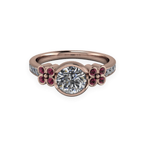 Floral, Diamond, Rhodalite, Rose Gold, Bezal set
