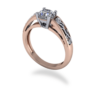 solitaire, filigree, milgrain, mixed metal, diamond