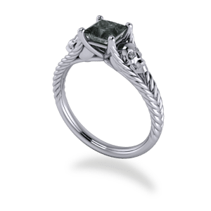 skull, platinum, black diamond, split shank, plaited band, princess cut