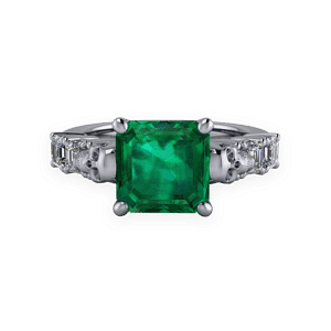 art deco, skull, platinum, emerald, diamond