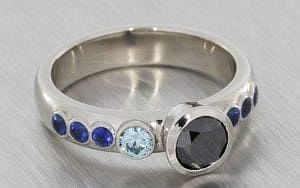 Asymmetrical black and blue diamond engagement ring  - Portfolio