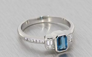 Bezel-Set, London Blue Topaz and Diamond Trilogy Ring - Portfolio