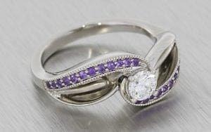 Bypass Swirl Amethyst And Diamond Engagement Ring - Portfolio