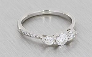 Diamond Trilogy Ring with Diamond-Set Shoulders - Portfolio