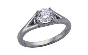 Bespoke 'corset' diamond platinum ring - Portfolio