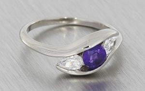 Angled Three stone amethyst and diamond engagement ring - Portfolio