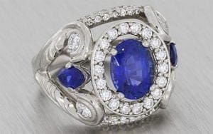 Faberge Inspired Sapphire and Diamond Engagement ring – Portfolio