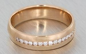 Men's Partial Channel Set Rose Gold Wedding band - Portfolio