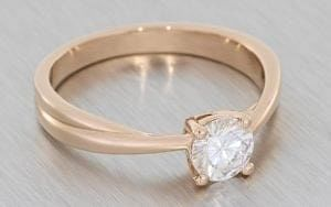 Contemporary rose gold twisted Solitaire engagement ring - Portfolio
