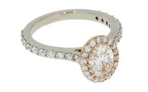 Romantic Rose and White Halo Diamond Ring - Portfolio