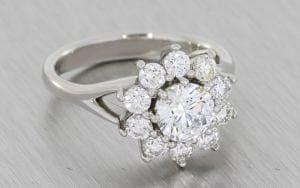 Beautiful Split shank Diamond Cluster ring with split shank - Portfolio
