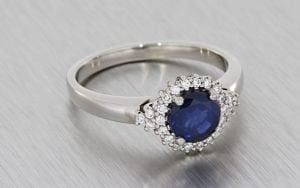 Matching Palladium Engagement Ring And Wedding Band Set With Sapphire And Diamond Cluster - Portfolio
