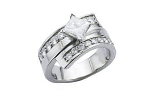 Palladium Princess cut twist ring - Portfolio