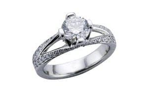 Pave split shank platinum diamond bespoke ring - Portfolio