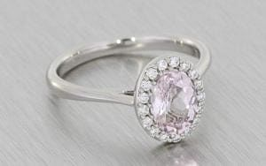 Oval, Halo, Shared-Prong, Pink Morganite, Palladium Ring - Portfolio