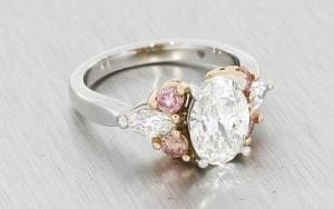 Stunning Pink and White Diamond Multistone Ring - Portfolio