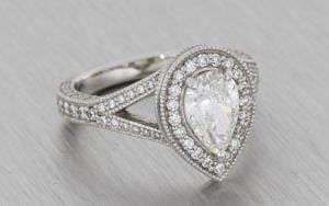 Diamond Pear Halo Ring With Milgrain - Portfolio