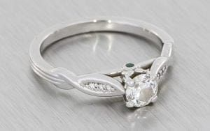 Platinum Sculptured Engagement Ring With Emerald Peak Stones - Portfolio