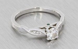 Platinum Sculptured Engagement Ring With Emerald Peak Stones - Portfolio