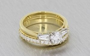 Yellow Gold Trilogy Engagement Ring With Matching Princess Cut Wedding Band - Portfolio